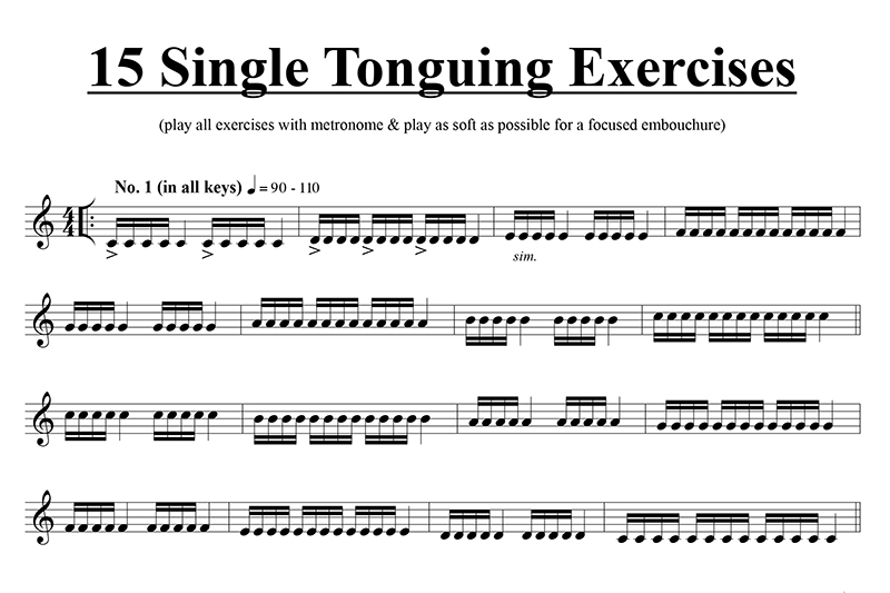 Single Tonguing Exercises